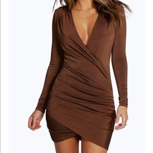 Chico-Brown Slinky Dress Drape Front from Boohoo